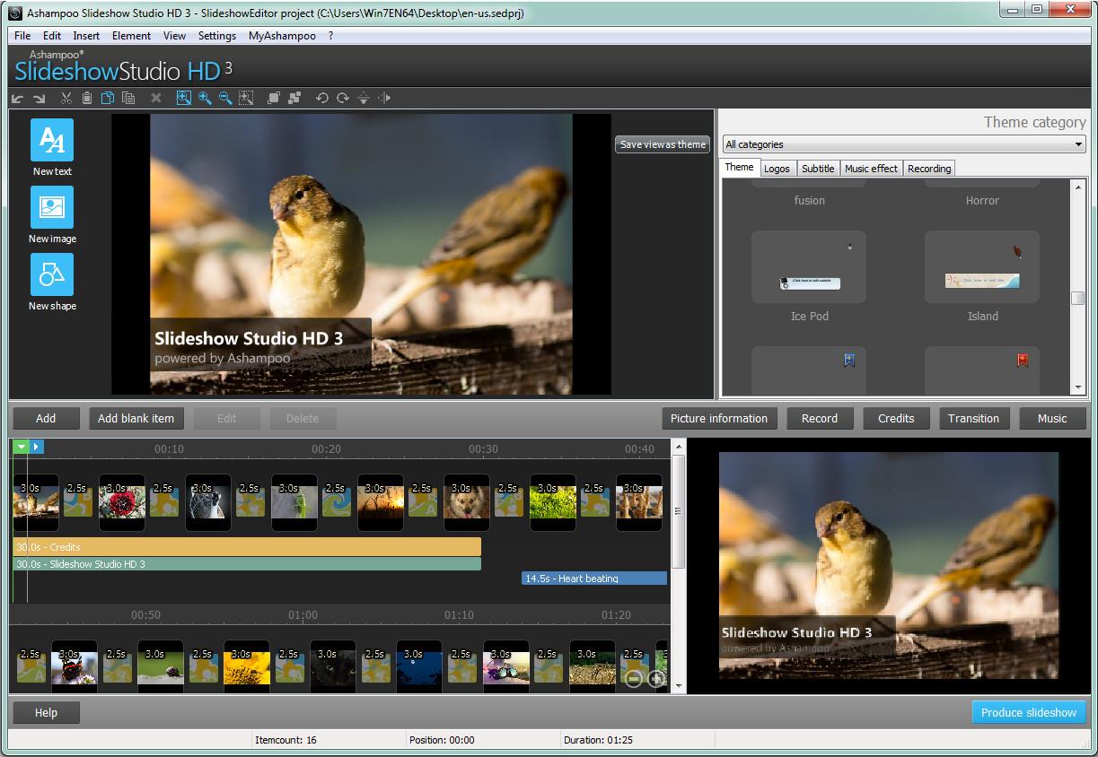 从日常事件到生命中最重要的记忆,照片中往往饱含着故事 - 让 Ashampoo Slideshow Studio HD 3 来述说。 最简单快捷的将照片变成绚丽的高清视频。 i、详细介绍; 设置主题 可选择多种主题,适配各个场景 自定义现有主题,或全新设计个性化主题 使用背景音乐和音效,激发情感 添加背景音乐 使用各种音效,制作悬念或渲染出欢快的场景 讲述您的故事 添加自己的声音,亲自讲述所见所闻 录下任意录音设备的声音 添加字幕和说明,让影片更有深度 利用文本、字幕等提供各种线索,笑料,以及背景信息 添